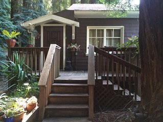 Relax in Fairfax quiet cottage in the redwoods.