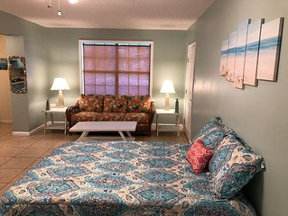A beach themed studio apartment that sleeps up to 4