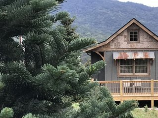A hand-crafted cabin built in the middle of a Christmas Tree farm.