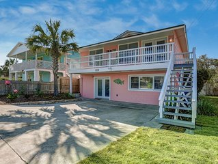 Renovated!  'Island style' beach house! 2 bed, 1 bath unit.  Across street from