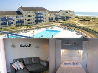 Appartement 4 personnes, une chambre dans résidence avec piscine à Lacanau Océan