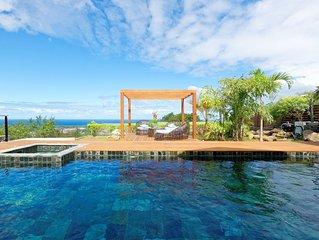 Villa Karala: spa et piscine chauffée avec vue dégagée sur l'océan, l'Étang salé
