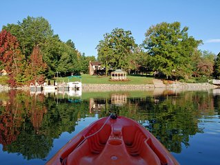 Waterfront Lodge at Beaverdam Creek Cove with private dock and boat ramp