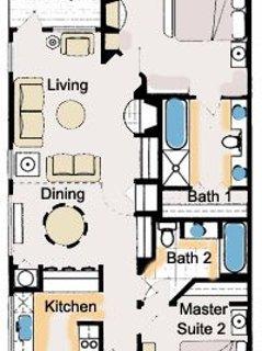 Plano de planta - 2 habitaciones 2 baños