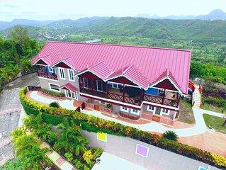 The Elegant Marigot Grande Villa & view of the entire Marigot Bay/Roseau Valley