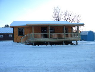 Cabin  on  Snowmobile trail a perfect start and ending for a perfect getaway