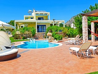 Beachfront Villa with Private Pool in Pefkos, Lindos, Rhodes. 'Villa Angelina'.