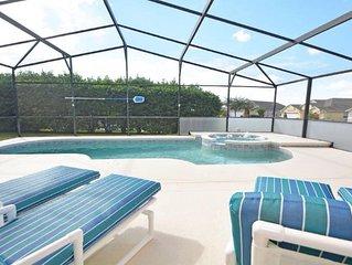 South Facing pool/spa,large deck,4 bed 3 bath ,wifi,free calls UK game room