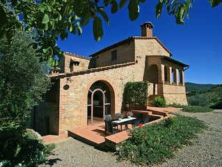 Tuscany villa with stunning views, private pool five minutes walk to the village