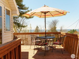 Classic Cottage on 5 Mile Hill across from State Beach w/ Lake Mi Views!