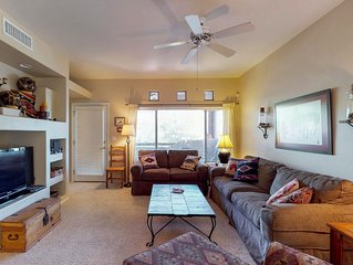 Stylish condo with a shared pool, hot tub, & lovely mountain views!