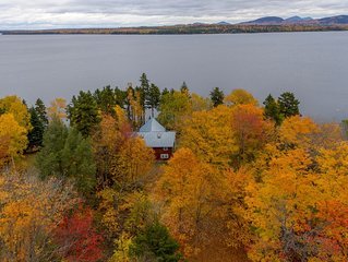 Dog-friendly lakefront lodge with stunning views, spacious deck, private dock!