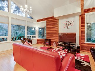 Forest view home w/ private hot tub, firepit, & shared pool - dogs welcome!