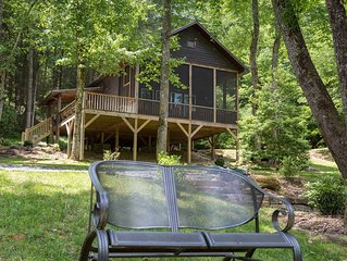 Lovely, riverfront cabin in secluded setting w/ private hot tub, deck, & firepit