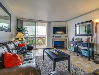View the ocean and beach walk from condo w/ shared pool & hot tub!