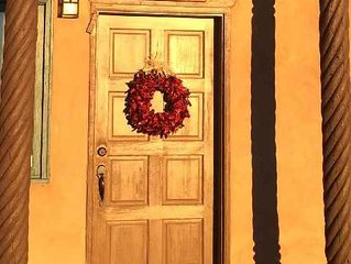 The 'all welcoming ' winter front door of red chilli peppers at Can-Tina Casita