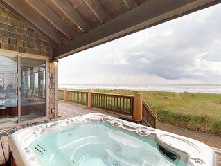 Dog-friendly, waterfront home w/ ocean views & a private hot tub