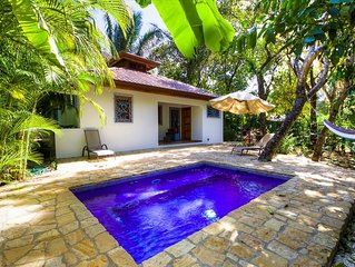Tropical jungle bungalow w/pool in prime Playa Guiones