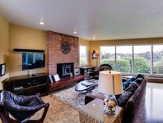 Artistic home w/ ocean views & private hot tub, close to beach!