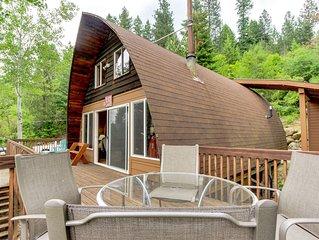 Dog-friendly with dock, boat slip, patio & deck w/ mountain & lake views!