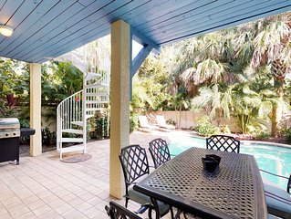 Charming family-friendly island home w/heated private pool & close to it all!