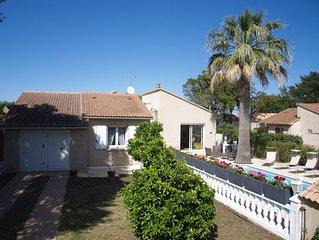 Maison 4 etoiles : 4 chambres, piscine a 150 m de la mer, plage sable fin.