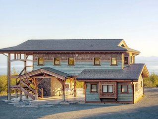 West Coast Inspired Ocean View Modern Timber Frame Vancouver Island with Hot Tub