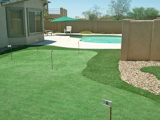 800 SQ FT PUTTING/CHIPPING GREEN NEXT TO HEATED POOL 4 BD RM HOME