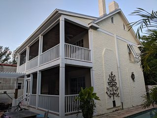 In town Historic Guest Cottage with pool. one block to beach