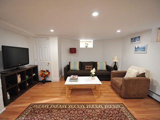 Comfy, cozy and clean basement apt with parking close to Harvard, Tufts and MIT.