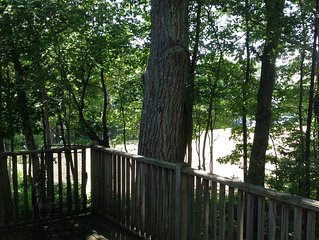 Tree Tops apartment with large deck overlooking the Kennebunk River