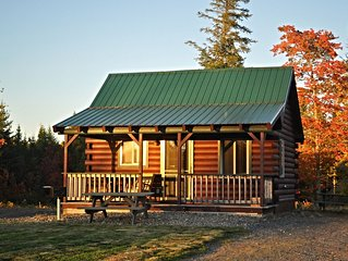 Modern log cabin with pond view  available for rent in middle  Maine.