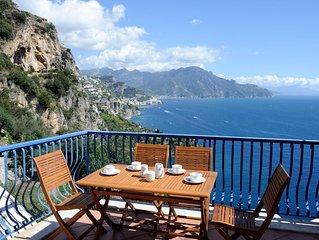 Casa con 2 camere da letto con terrazza e vista mare ed a soli 4 km da Amalfi