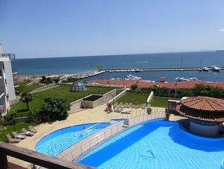 3rd floor apartment with panoramic sea views over bay (Enquire for details).