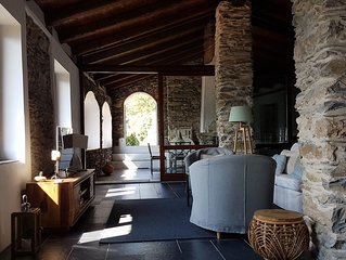 Stone villa Bellezza with breathtaking mountain view and pool