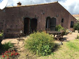Antico Palmento in bio-edilizia, tra l'Etna e Taormina (enorme giardino, alberi