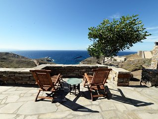 Traditional stone built villa with a fantastic sea view near a large sandy beach