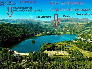 Villa et 2 Chalets  a Chambon-sur-lac , dans le  parc naturel des volcans  Sancy