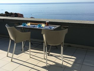 Vue exceptionnelle, terrasse standing vue Merc piscine plages 5 minutes Monac