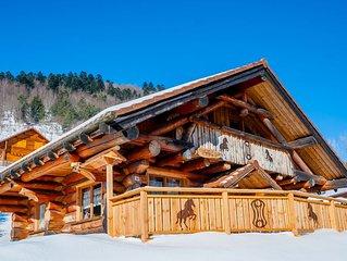La fuste des Chevaux, chalet en rondins, kota-sauna, bain nordique, 6 personnes
