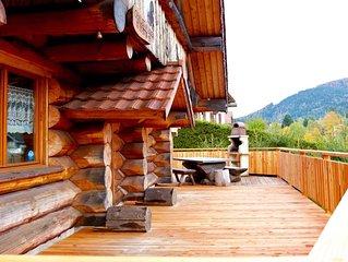 Chalet 3* en rondins, terrasse avec jacuzzi et kota-sauna en pleine nature