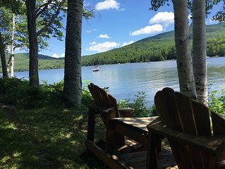 Relax & enjoy 240' lake frontage on Stinson Lake- Rumney, NH, with private beach