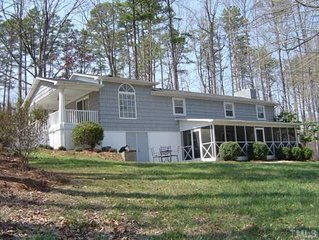 Hyco Lakefront rental with great outdoors. So much room for activities!