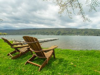 Honeoye Lake House with Spectacular  View - quiet and large flat lake property
