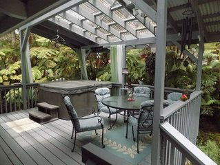 Hot tub, Wood Stove, Sleep Number Bed Amid Tree Ferns Near Hawaii Volcanoes Park