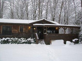 Romantic & Cozy 1BR 'Real Log Cabin' Riverside w/Hot Tub, Fireplace + (sleeps 4)