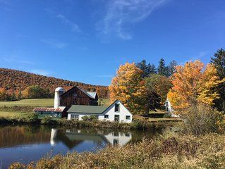 Historic Catskill Farmhouse in picturesque valley with ponds, forests and fields