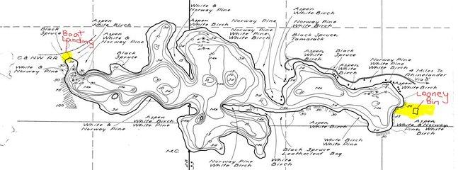 Carte de profondeur de lac (lacs Velvet / Flannery)