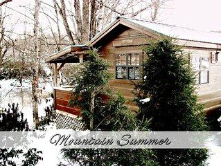 Romantic 1BR REAL LOG Cabin w/Hot Tub & Fireplace - Riverside (sleeps 4)
