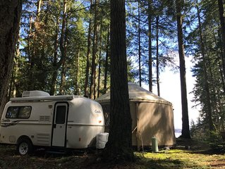 Glamping - Very Nice Yurt and Trailer Combo in Wooded Area with Puget Sound View